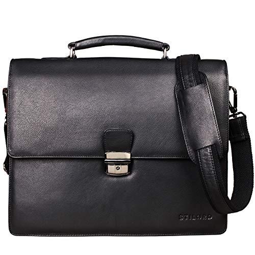 STILORD 'Rion' Klassische Aktentasche Klein Leder Herren Damen Businesstasche Dokumententasche Bürotasche mit Schloss echtes Rindsleder, Farbe:schwarz