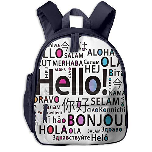 Kinderrucksack Kleinkind Jungen Mädchen Kindergartentasche Übersetzen Sie Hallo Sprachen Backpack Schultasche Rucksack