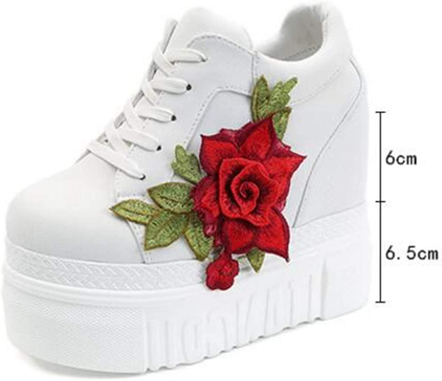 Red pink Hidden Wedge Heels Sneakers Women's Elevator Casual shoes for Woman Breathable Height Increasing Flowers shoes