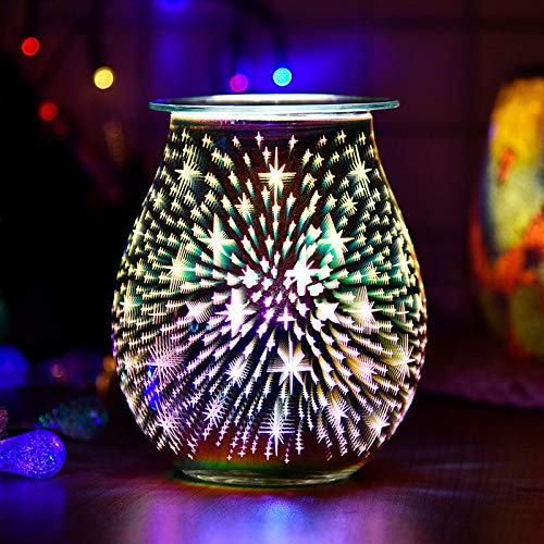 PopHMN 3D Glass Wax Melt Burner Aroma Lamp,Electric Melt Wax Burner, Night Light Wax Warmer for Home Office Bedroom Living Room Gifts & Decor (Star)
