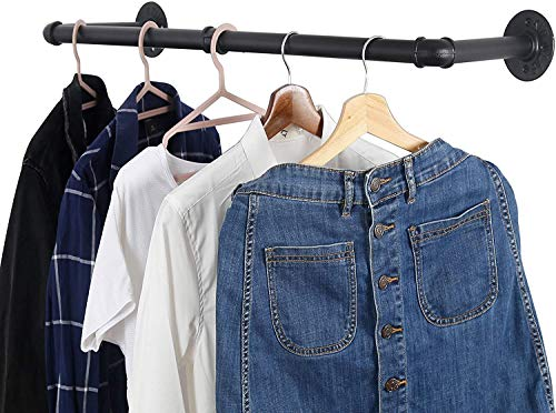 Nisorpa Industrial Pipe Clothes Rack 80x30cm Wall Mounted Garment Hanging Bar Detachable Iron Clothes Wall Rail Shelf Multi-Purpose for Retail Display Closet Organization Holds up to 50kg