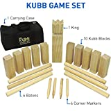 EasyGoProducts Kubb The Viking Wooden Outdoor Lawn Game Set - One 2 3/4' x 12' King, Ten 1.75' x 6' Kubb Blocks, Six 1' Diameter x 12'