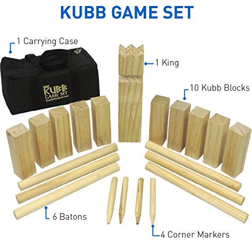 """EasyGoProducts Kubb The Viking Wooden Outdoor Lawn Game Set - One 2 3/4"""" x 12"""" King, Ten 1.75"""" x 6"""" Kubb Blocks, Six 1"""" Diameter x 12"""""""