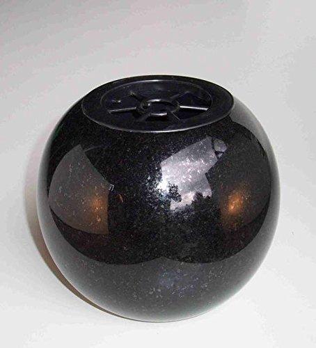 Designgrab Vase funéraire rond en granit suédois noir SS1 vase sphérique rond noir
