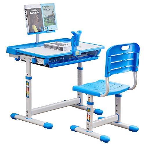 BOJOY Kids Desk, Kids Study Table and Chair Set, Adjustable Children Desk, School Student Writing Desk w/Pull Out Drawer Storage,Pencil Case,Bookstand (Blue)
