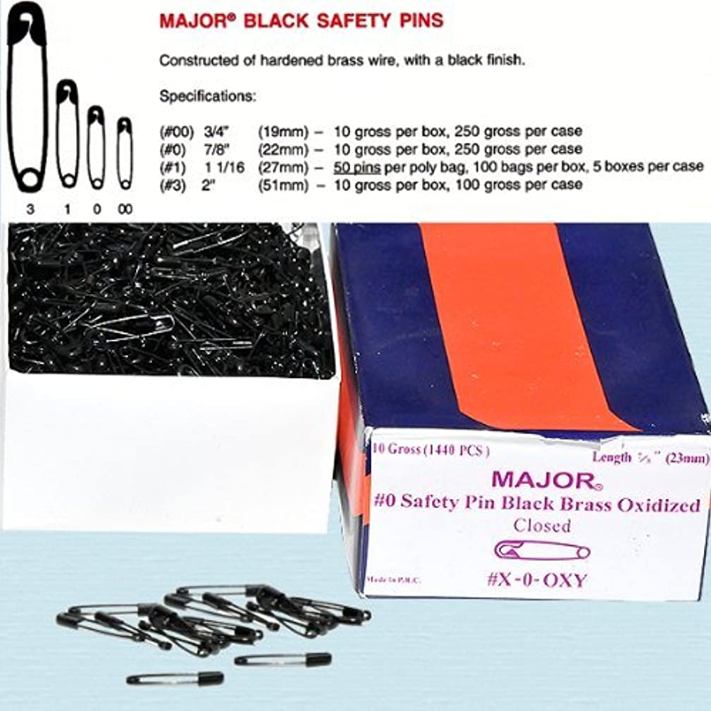 Safety Pins - Black Safety Pins Size #3 - Length 2