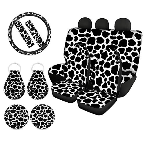 WELLFLYHOM Cow Print Car Seat Cover Protector Front & Rear Seat Cover SUV Car Full Set 11-pcs with Steering Wheel Cover + Seatbelt Strap Cover+ Auto Cup Coasters+ Key Chains Universal Fit