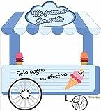 Photocall Carrito Helados Azul | Medidas 2,85x1,55m | Ventanas Troqueladas | Photocall Divertido