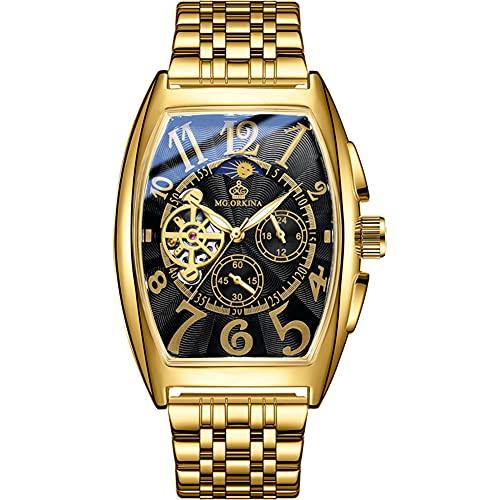 XIAN Reloj para Hombre Barril de Vino Hueco Reloj mecánico automático multifunción Reloj de Pulsera de Acero Inoxidable para Hombre,004