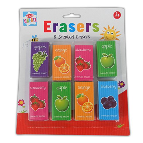 Kids Create Your World Stationery 8 Scented Erasers Assorted Scents