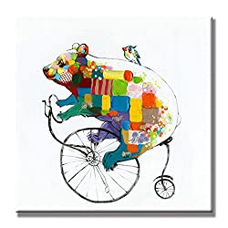 funny oil paintings - cycling bear and bird
