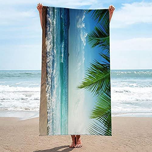 ZCLCHQ Toallas de Playa de Microfibra Mar de Palmeras Estilo 3D Imprimir Toallas de Playa Grandes Ligera Blando Manta de Playa para Verano Viaje Playa Nadar Deportes Tamaño:An 150 x Al 75 cm