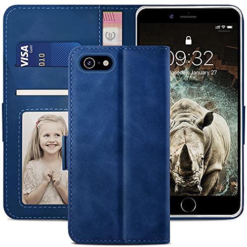 YATWIN Handyhülle Kompatibel mit iPhone SE 2020 Hülle, Klapphülle iPhone 8/7/SE Premium Leder Brieftasche Schutzhülle [Kartenfach] [Magnet] [Stand] Handytasche Hülle für iPhone 8/7/SE Hülle, Blau