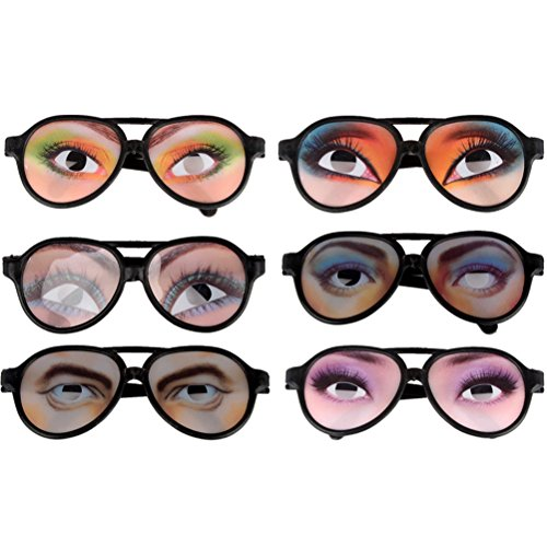 Toyvian 12 Piezas de Gafas de Sol de Fiesta Broma Gafas Divertidas Gafas de Ojo Femenino para Accesorios de Broma de Fiesta (Estilo Aleatorio)