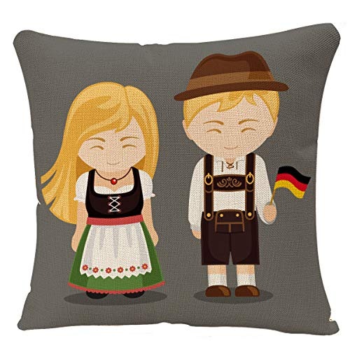 YGGQF Throw Pillow Cover Germans in National Dress with Flag Man and Woman Traditional Bavarian Costume Travel to Germany People Decorative Pillow Case Square Pillowcase 18 x 18 Inch