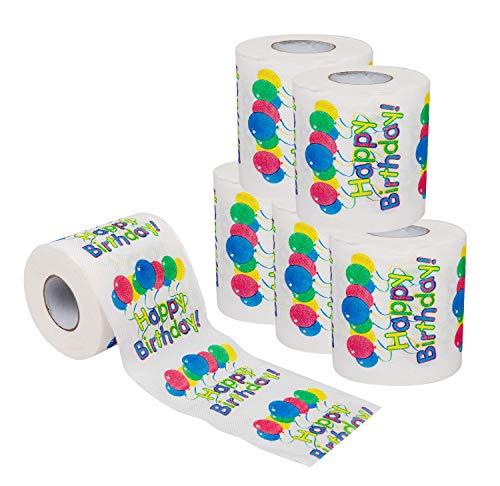 SummitLink 6 Rolls of Happy Birthday Balloon Toilet Paper Tissue Napkin Prank Fun Birthday Party...