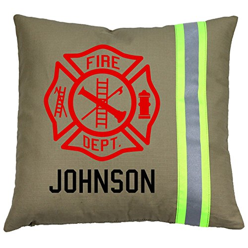 Personalized Firefighter Maltese Cross Throw Pillow (Tan (Yellow Reflective)