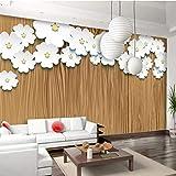 Mural 3D Pared,Papel De Parede Papel Tapiz Personalizado En 3D De Textura De Madera Arte Origami De Papel Tapiz De Fondo De Flores Blancas Wall Papers Decoracion,280(W)X180Cm(H)(9,2X5.11)Ft