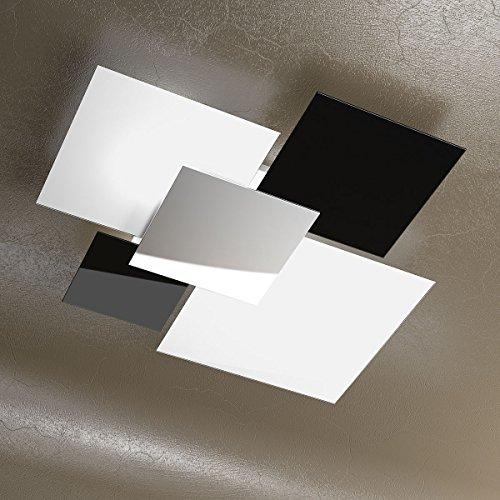 Plafoniera a soffitto grande 90cm Lampadario design moderno SKUGGA con Cristalli colore Bianco Nero e Acciaio Cromato