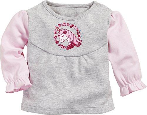 Schnizler Baby-Mädchen Sweat-Shirt Interlock Einhorn Langarmshirt, Grau (Grau/Melange 37), 62
