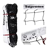 Supreme Volleyball Net Thick Nylon with Iron Wire, Tournament-Competition Quality (Black, White)