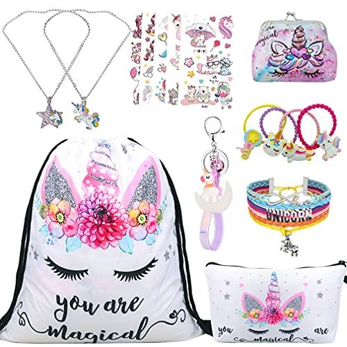 RLGPBON Einhorn Geschenke für Mädchen,Einhorn Kordelzug Rucksack/Make-up Tasche/Halskette Legierung Kette/Armband/Haargummis