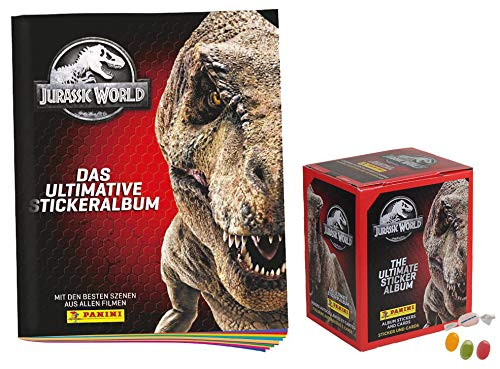 Panini Jurassic World Sticker Serie (2020) - 1x Leeralbum + 1x Display je 36 Stickertüten + je 4 Sticker +1x Trading Cards - zusätzlich 1 x Sticker-und-co Fruchtmix Bonbon