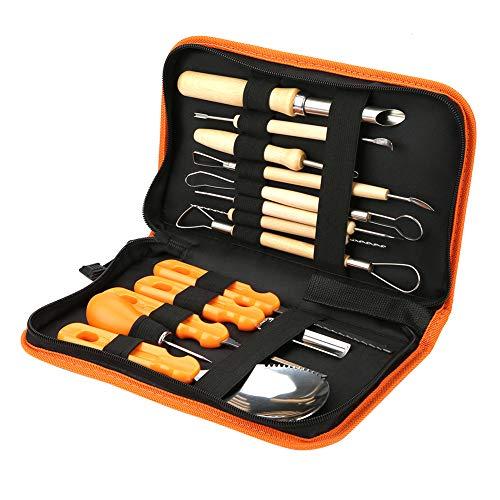 Ladieshow 13pcs Manual Sculpt Tool Kit, Halloween Kürbisschnitzwerkzeuge mit Stoffverpackungstasche