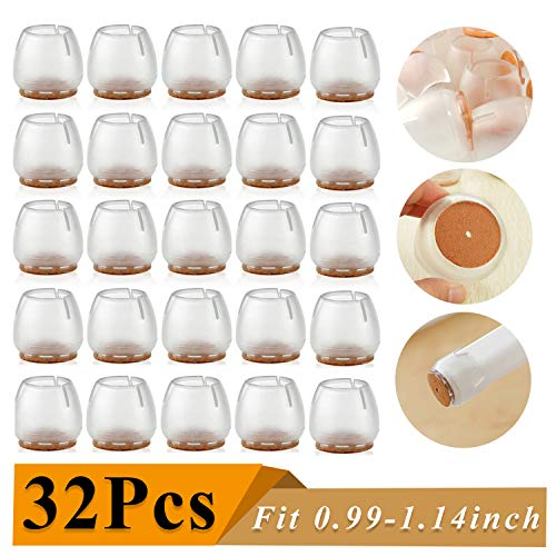 godehone 32 Pack Chair Leg Caps Silicone Floor Protector Round Furniture Table Feet Covers