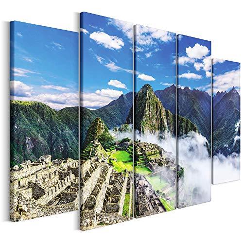 Revolio - Cuadro en Lienzo - impresión artística - 5 Partes - Decoracion de Pared - Tipo B - Tamaño: 100 x 70 cm - montańas ruinas Verde