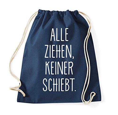TRVPPY Turnbeutel mit Spruch/Modell ALLE ZIEHEN, KEINER SCHIEBT/Beutel Rucksack Jutebeutel Sportbeutel Fashion Hipster
