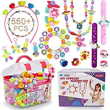 Pop Beads - 550+Pcs DIY Jewelry Making Kit for Toddlers 3 4 5 6 7 ,8 Year Old Kids Pop Snap Beads Set to Make Hairband Necklaces Bracelets Rings and Art & Crafts Creativity Toys for Girls Boys