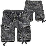 Brandit Vintage Shorts Hombre Pantalones Cortos Camuflaje Oscuro XXL, 100% algodón, Vintage Ancho