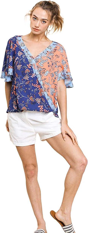 Umgee Women's Floral Popular overseas Mixed Print Bell Crossbody Sleeve Boston Mall Short Top