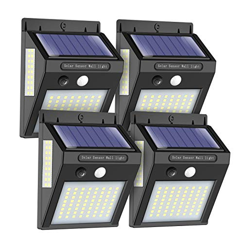 Solarlampen für Außen mit Bewegungsmelder, ERAY Solarleuchten für Außen 100 LEDs / 1000 Lumen / 2200mAh / IP65 Wasserdicht / 270° Solarlampen für Garten, Garage, Solarleuchte für Aussen, 4 Stücke