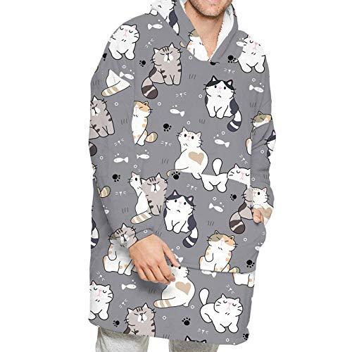2020 - Manta con capucha y diseño de dibujos animados, con capucha y manga larga, con capucha, estilo casual, para el hogar, perezoso, para TV