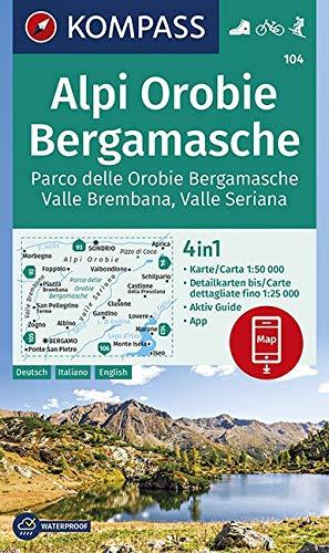 Carta escursionistica n. 104. Alpi Orobie bergamasche. Parco delle Orobie bergamasche, valle Brembana, valle Seriana 1:50.000. Ediz. multilingue: 4in1 ... in der KOMPASS-App. Fahrradfahren. Skitouren.