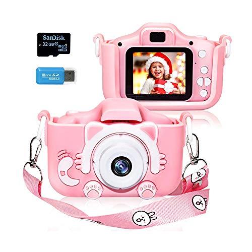 ZXYMUU Kinder Kamera 32GB Wiederaufladbare Selfie Kinder Digital-Camcorder Mit 2,0 Zoll Bildschirm/Doppellinse Stoßfeste Kamera (Rosa)
