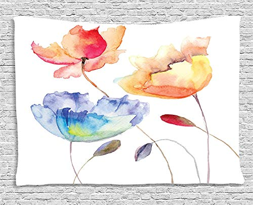 Ambesonne Watercolor Flower Tapestry, Summer Flowers in Retro Style Painting Effect Nature is Art, Wide Wall Hanging for Bedroom Living Room Dorm, 60' X 40', Orange Pink