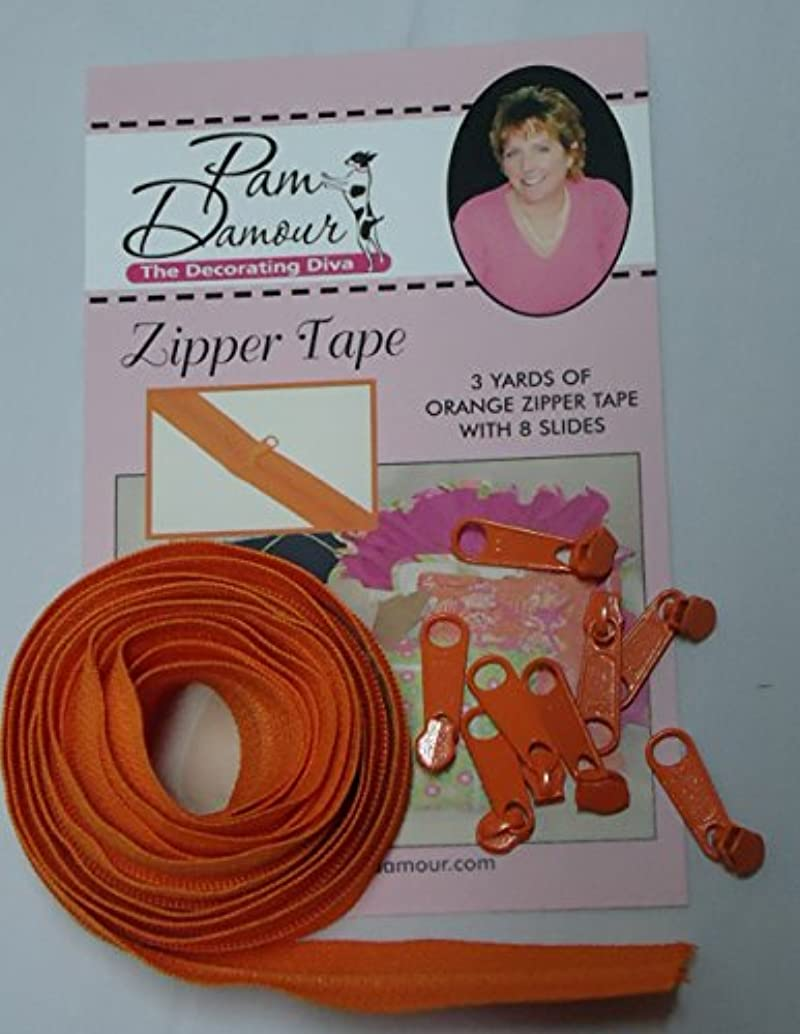 Decorating Diva 3 Yards of Reversible Coil Zipper Tape with 8 Slides Orange, 3 yd,