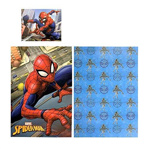 Juego de funda nórdica de Marvel Spider-Man de 140 x 200 cm y 70 x 90 cm de algodón