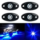 YaeCCC 4pcs LED Rock Light Under Body Glow Trail Rig Lamp Waterproof (Blue) Compatible for JEEP ATV SUV Truck Boat
