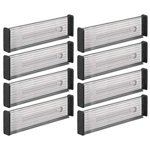 mDesign 8er-Set Verstellbarer Schubladeneinsatz – praktischer Schubladen Organizer für Küchenschränke – Flexibler Schubladenteiler aus Kunststoff – dunkelgrau/schwarz