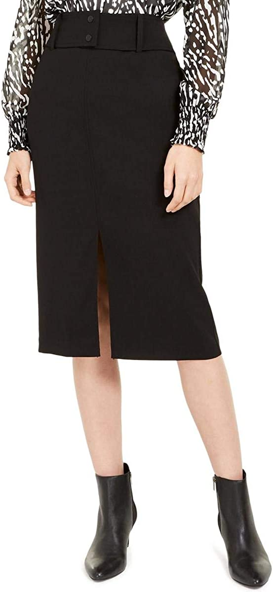 Alfani Womens Belted Knee-Length Pencil Skirt Black 14