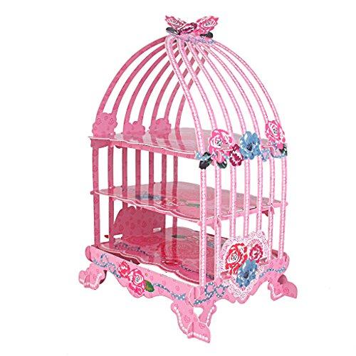 Support Présentoir à Petits Gâteaux Cupcake Cage d'oiseau Motif de Rose Multicolore (Rose)