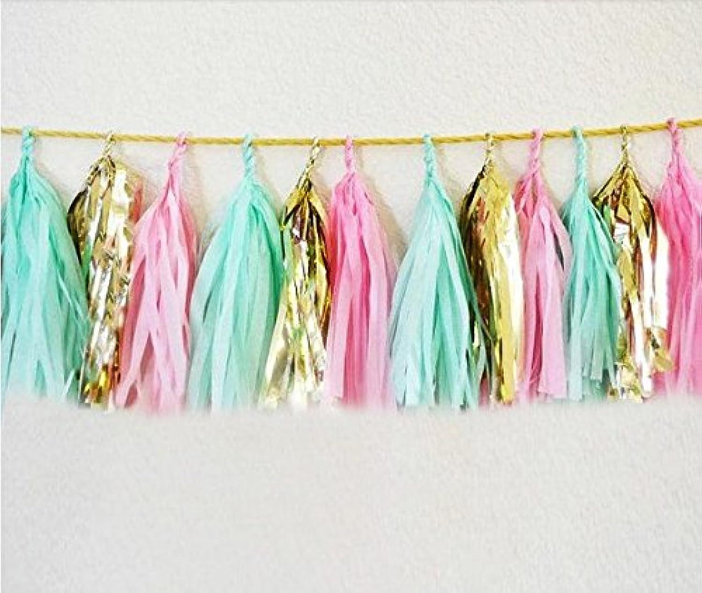 18 X Design Tissue Paper Tassels for Party Wedding Gold Garland Bunting Pom Pom