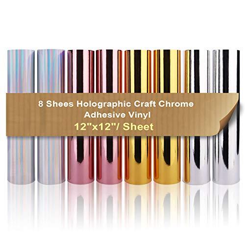 Paquete de vinilo adhesivo Craft holográfico de Chrome 30x30cm (8 hojas) 4...