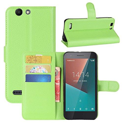 HualuBro Vodafone Smart E8 Hülle, [All Aro& Schutz] Premium PU Leder Leather Wallet HandyHülle Tasche Schutzhülle Hülle Flip Cover für Vodafone Smart E8 Smartphone (Grün)
