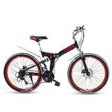 Mountain Bike Pieghevole da 26 Pollici Bicicletta A Doppio Assorbimento degli Urti Ruota Posteriore A Doppio Freno A Disco con Sospensione Posteriore,Rosso,21speeds