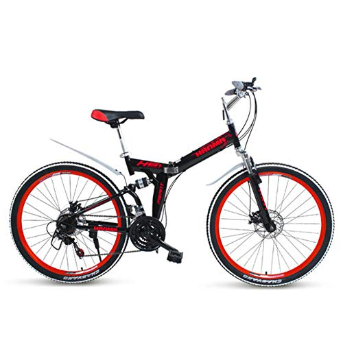 Bicicleta De Montaña Plegable De 26 Pulgadas Bicicleta De Doble Amortiguación Suspensión Trasera Doble Disco Freno Rueda De Radios,Rojo,21speeds